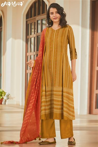 Artistic Mustard Colored Pashmina Fabric Printed Salwar Suit