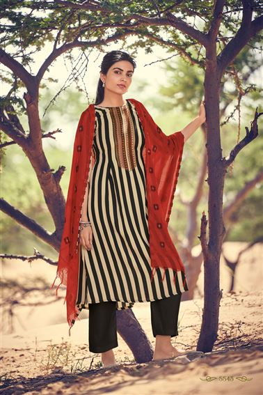 Lovely Black And Beige Colored Pashmina Fabric Printed Salwar Kameez