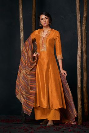 image of Fetching Orange Colored Bemberg Silk Fabric Hand Work Palazzo Suit