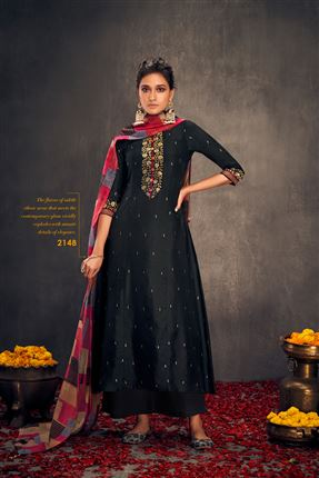 image of Pretty Black Colored Bemberg Silk Fabric Hand Work Palazzo Suit