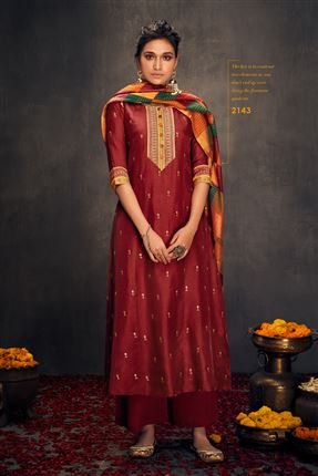 image of Stunning Maroon Colored Bemberg Silk Fabric Hand Work Palazzo Suit