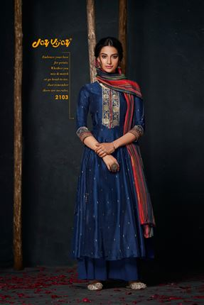 image of Appealing Navy Blue Colored Bemberg Silk Fabric Hand Work Palazzo Suit