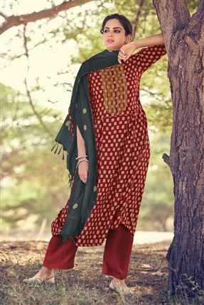 image of Attractive Red Colored Pashmina Fabric Printed Salwar Kameez