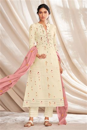 image of Beautiful Beige Colored Pure Cotton Fabric Party Wear Printed Designer Salwar Kameez