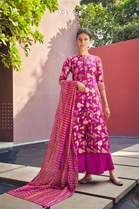 image of Captivating Magenta Colored Banarasi Jacquard Fabric Hand Work Palazzo Salwar Suit