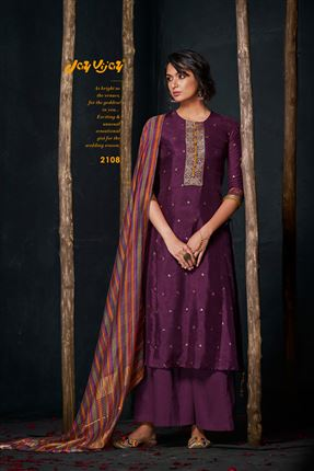 image of Captivating Purple Colored Bemberg Silk Fabric Hand Work Palazzo Suit