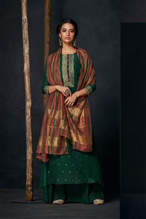 image of Engaging Dark Green Colored Bemberg Silk Fabric Hand Work Palazzo Suit