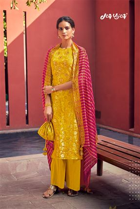 image of Engaging Mustard Colored Banarasi Jacquard Fabric Hand Work Palazzo Salwar Suit