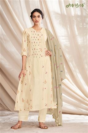 image of Enriching Beige Colored Pure Cotton Fabric Party Wear Printed Designer Salwar Kameez