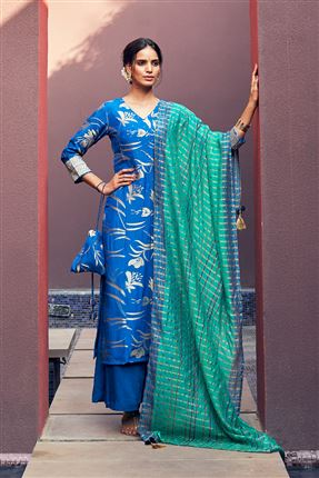 image of Fetching Blue Colored Banarasi Jacquard Fabric Hand Work Palazzo Salwar Suit