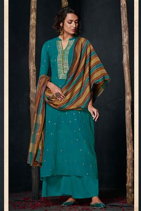 image of Gorgeous Teal Colored Bemberg Silk Fabric Hand Work Palazzo Suit