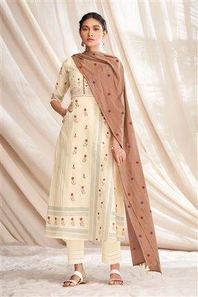image of Lovely Beige Colored Pure Cotton Fabric Party Wear Printed Designer Salwar Kameez