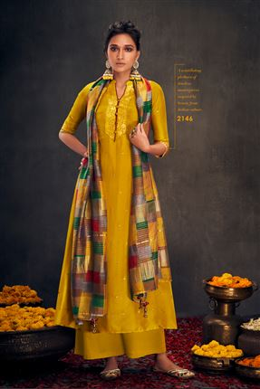 image of Lovely Mustard Colored Bemberg Silk Fabric Hand Work Palazzo Suit