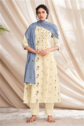 image of Pretty Beige Colored Pure Cotton Fabric Party Wear Printed Designer Salwar Kameez